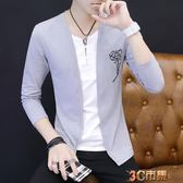 男士長袖T恤男秋季薄款韓版修身上衣假兩件V領衣服夏季外套潮 全館免運