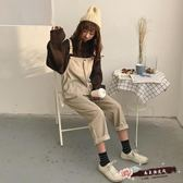 韓國寬鬆燈芯絨背帶褲吊帶褲哈倫褲連體長褲休閒褲闊腿褲九分褲 「尚美潮流閣」
