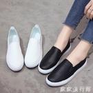 樂福鞋 2021新款真皮樂福鞋女一腳蹬鞋女懶人鞋女平底單鞋休閒小白鞋板鞋 歐歐