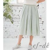 【ef-de】激安 水玉洞洞純棉鬆緊腰長裙(鮭魚紅/草葉綠)