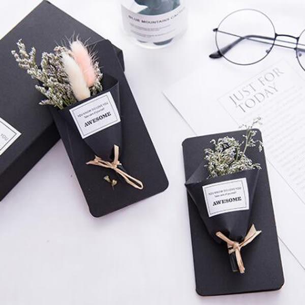 【BlueCat】Future Girl迷你乾燥花花束卡片 質感黑色禮盒裝