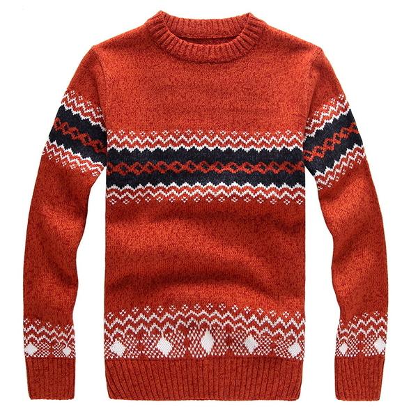 圓領針織衫上衣-羊毛百搭加厚格子新款男毛衣4色72k16【巴黎精品】