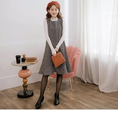 《MA0260》黑白格織紋毛呢魚尾寬版孕婦洋裝 OrangeBear