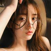 復古小圓框眼鏡框文藝韓版潮男女素顏平光鏡圓形近視眼睛架