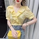 短袖襯衫 泡泡袖短袖襯衫女2021年夏季新款法式復古v領荷葉邊上衣短款襯衣 維多原創