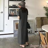 T恤裙 韓版夏季bf新款短袖T恤女中長款連身裙寬鬆顯瘦過膝純棉T恤長裙女  新品
