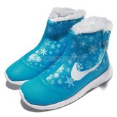 Nike 休閒鞋 Tanjun Hi Print PSV 藍 白 雪花圖騰 高筒 無鞋帶設計 運動鞋 中童鞋 童鞋【PUMP306】 AA2893-400