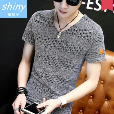 【Y128】shiny藍格子-潮男美型.夏季韓版V領針織短袖上衣