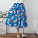 【UFUFU GIRL】拓印風格森林系半身裙,純棉材質x鬆緊腰舒適好著!