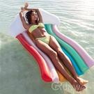 七色彩虹躺椅 超大型 充氣 雲朵彩虹 造型泳具 大型泳圈 浮板 充氣玩具 直播小物 游泳圈