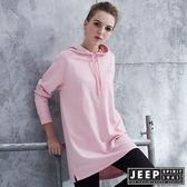 【JEEP】女裝 潮流文字印花長版長袖帽TEE (粉色)