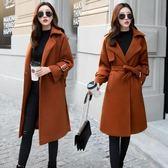 呢子大衣女中長款韓版秋冬季新款時尚加厚過膝毛呢外套潮 DN18052【極致男人】