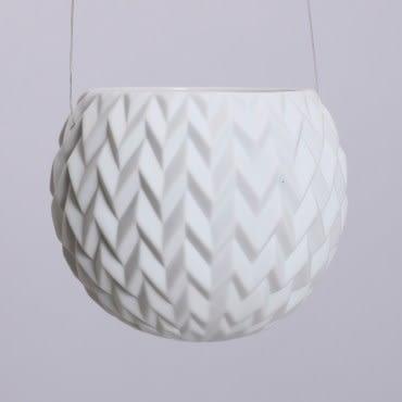 月白水波紋浮雕吊掛花器10 cm