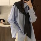 VK精品服飾 韓國風假兩件上衣復古寬鬆韓系襯衣披肩襯衫長袖上衣