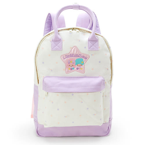 《Sanrio》雙星仙子刺繡LOGO兩用帆布後背包(星星米)_701262