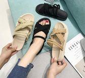 涼拖女夏外穿時尚厚底百搭平底涼鞋中跟社會拖鞋chic港風『摩登大道』
