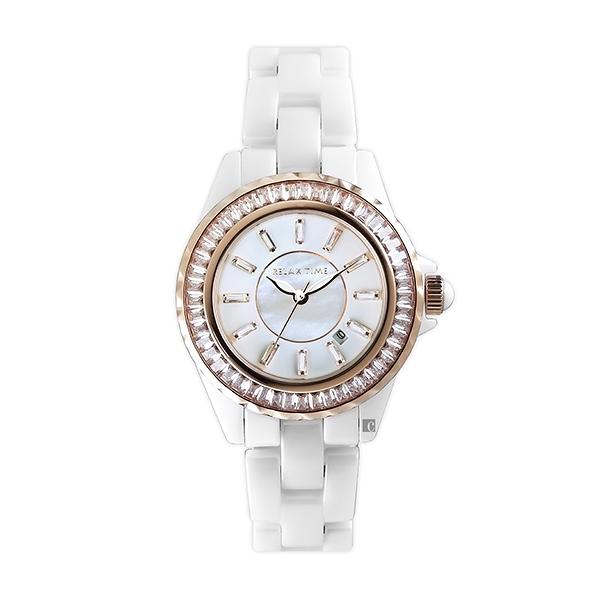 【Relax Time】奢華軌道鑲石經典陶瓷時尚腕錶-晶鑽白/RT-93-1/台灣總代理公司貨享一年保固