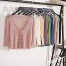 (免運)DE shop - 七分袖針織荷葉邊鏤空披肩外套 - RT-1331