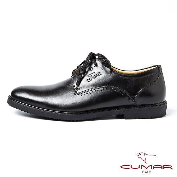 CUMAR男鞋 亮面綁帶休閒皮鞋-黑