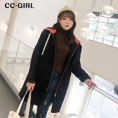 中大尺碼 字母抽繩撞色連帽外套 - 適XL~4L《 65487 》CC-GIRL