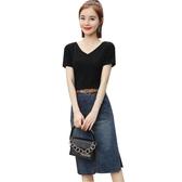 時尚套裝牛仔半身裙女2019女裝韓版高腰黑色顯瘦短袖上衣開叉長裙