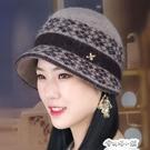 帽子女韓版秋冬天保暖針織帽加絨襯兔毛毛線帽大頭顯臉小拼色盆帽 安妮塔小鋪