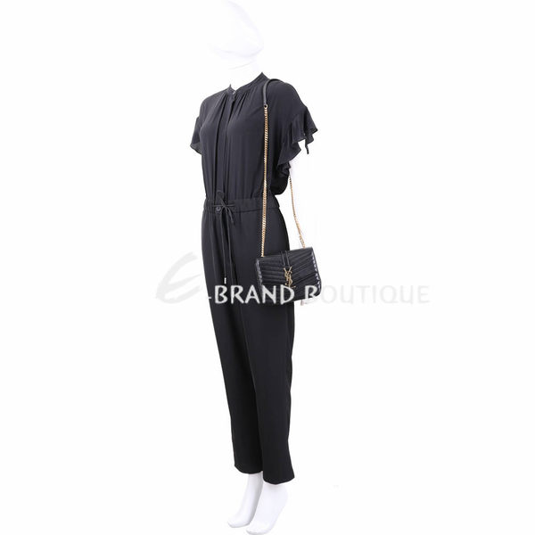 YSL Saint Laurent SULPICE 小型 金字絎縫羊皮鍊帶包(黑色) 1930026-01