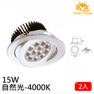 HONEY COMB LED 15W 崁入型燈具 2入一組TK083-6 白光