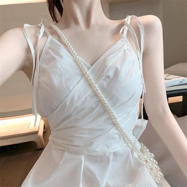 露背白色性感短裙吊帶裙