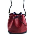 【奢華時尚】LV 紅藍紫三色EPI麥穗壓紋牛皮肩背水桶包(八五成新)#25114