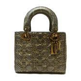 Dior 迪奧 蟒蛇皮LADY DIOR經典格紋手提肩背兩用包 【二手名牌 BRAND OFF】
