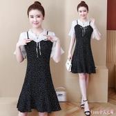 洋裝女2020新款夏季大碼連身裙胖mm拼接假兩件波點時尚中長款裙 LF3767【Rose中大尺碼】