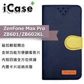 iCase+ ASUS ZenFone Max Pro ZB601/ZB602KL 側翻皮套(藍)