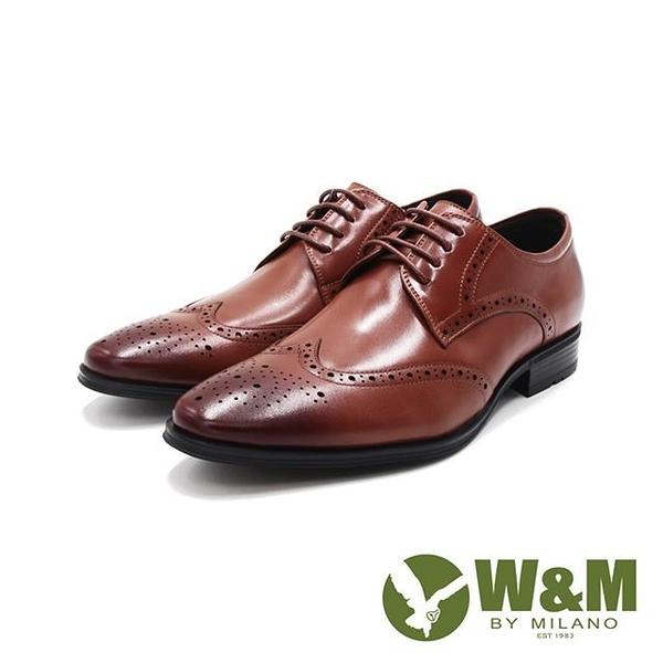 【南紡購物中心】W&M(男)氣墊感 雕花綁帶皮鞋 男鞋-棕(另有黑)