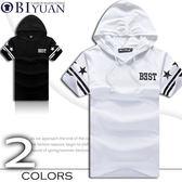 不退換短袖帽T ~JG5066 ~OBI YUAN 星星英文反向字母連帽短袖上衣 不退換