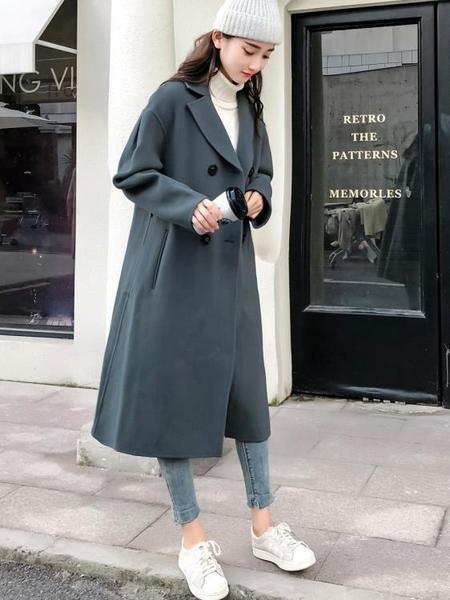 情侶裝秋冬季2019新款中長款風衣男毛呢子大衣韓版外套小眾設計感 滿天星