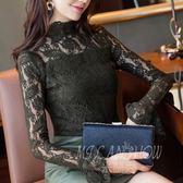 立領網紗蕾絲衫 打底衫 長袖襯衫 韓版鏤空小禮服