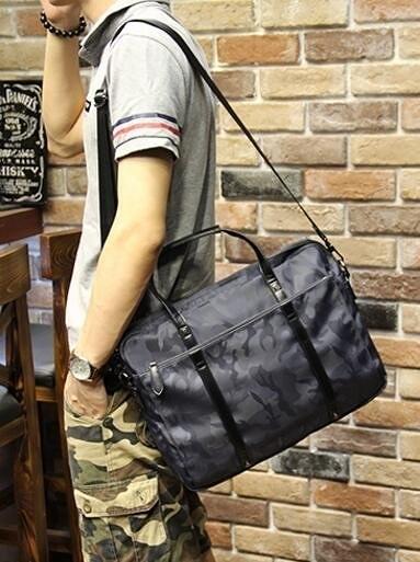 FINDSENSE Z1 韓國 時尚 潮 男 皮質 迷彩色 手提包 單肩包 斜背