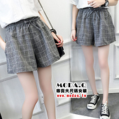 *MoDa.Q中大尺碼*【X793】潮流綁繩格紋造型百搭口袋褲裙