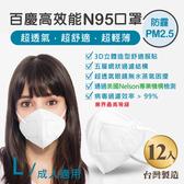 John m.百慶N95防霾PM2.5高效能口罩 成人適用 (12入)