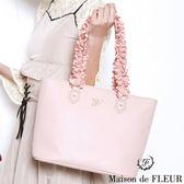 Maison de FLEUR ♡ 荷葉邊造型皮革手提包 - Maison de FLEUR