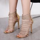 歐美新款 性感水鉆鏤空大碼高跟涼鞋女35-42 降價兩天