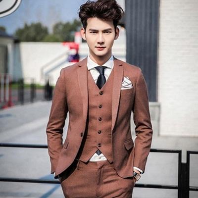 西裝套裝含西裝外套+西裝褲(三件套)-時尚口袋外翻設計造型面試男西服4色73hc87[時尚巴黎]
