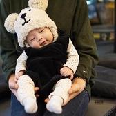 兒童帽子雙球小熊護耳針織帽嬰兒寶寶保暖毛線帽【愛物及屋】