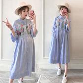 孕婦連身裙韓版大碼中長款刺繡哺乳裙短袖孕婦裙吾本良品