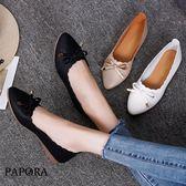 平底鞋.小蝴蝶仿皮面尖頭平底鞋【KBF02】黑/白/米(偏小)