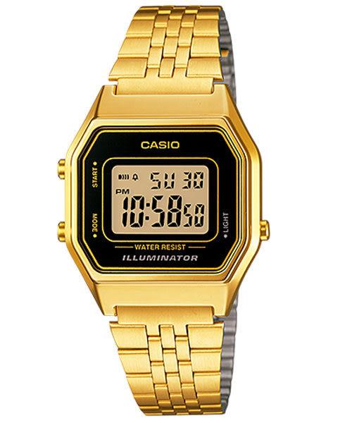 CASIO卡西歐 LA680WGA-1 復古風時尚經典 女錶 金黑 鬧鈴 碼錶 電子錶 數字顯示 不銹鋼錶帶