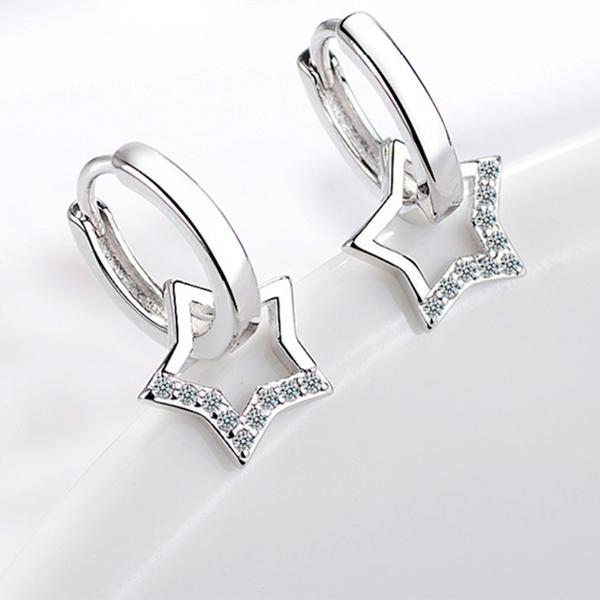 現貨不用等 韓國簡約百搭微鑲星星垂墜鋯石925銀針易扣耳環 S93261 批發價 Danica 韓系飾品