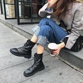 馬丁靴 歐洲站女鞋秋季新款歐美風繫帶圓頭網紅鬆糕底女潮 - 歐美韓熱銷