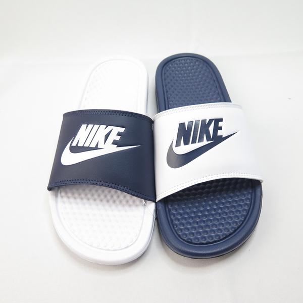 Nike BENASSI JDI MISMATC 陰陽拖鞋 818736410 男款 藍白【iSport愛運動】